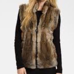Linda Richards Reversible rabbit Fur vest.